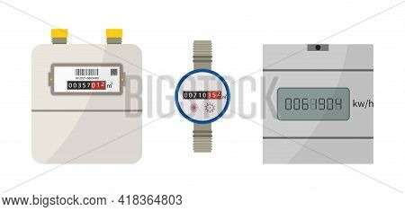 Meter Of Electric, Gas And Water. Counter Box With Display For Measure Consumption Of Electrician, W