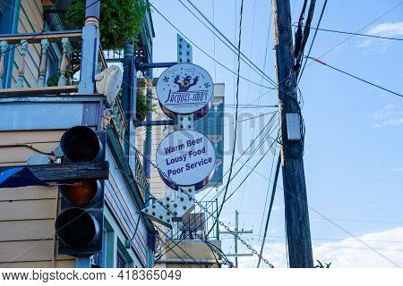 New Orleans, La - September 28: Sign For Jacques-imo's Restaurant On Oak Street On September 28, 202