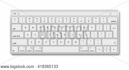 Keyboard Of Computer. White Aluminum Key Board With Button. Keyboard With Black Alphabet For Laptop