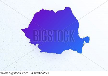 Map Icon Of Romania. Colorful Gradient Map On Light Background. Modern Digital Graphic Design. Light