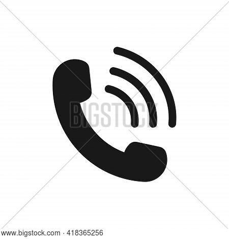 Call Icon. Symbol Of Phone, Receiver And Contact. Sign Of Telephone, Hotline And Talk. Logo For Mobi
