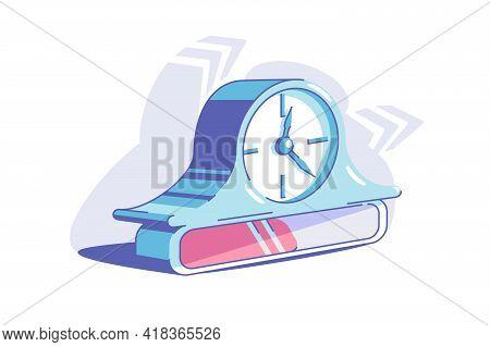 Blue Bracket Clock Vector Illustration. Clock As