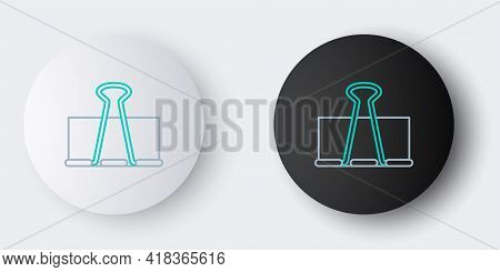 Line Binder Clip Icon Isolated On Grey Background. Paper Clip. Colorful Outline Concept. Vector