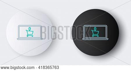 Line Shopping Cart On Screen Laptop Icon Isolated On Grey Background. Concept E-commerce, E-business