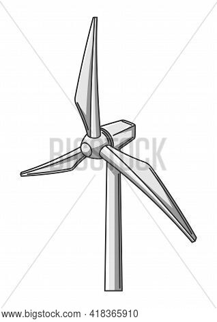 Illustration Of Wind Turbine. Ecology Icon For Environment Protection.