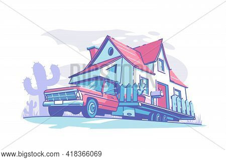 Mobile Home Building Vector Illustration. Live And