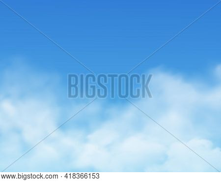 Clouds In Sky, Realistic Cloudy Air, Vector Heaven Background. White Light Clouds In Sky, Sunny Day