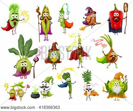 Vegetable Magician, Witch, Wizard And Fairy Cartoon Characters. Vector Pepper, Onion, Daikon And Bea
