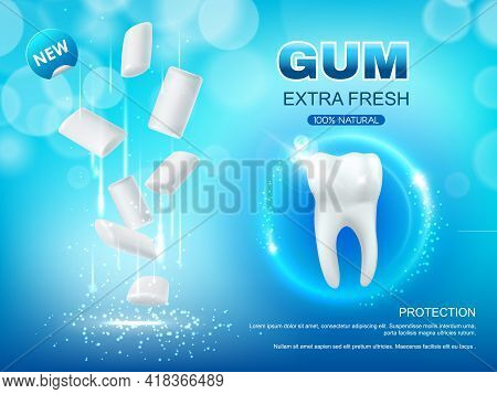Extra Fresh Chewing Gum Vector Design Of Dental Hygiene. Realistic 3d Pads Of Mint Bubble Gum And Wh