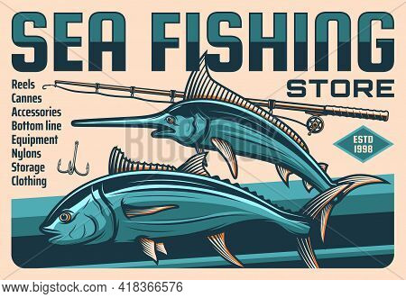 Fish, Fisherman Rod And Hook, Vector Fishing Sport Design. Fisher Or Angler Catch Of Tuna And Blue M