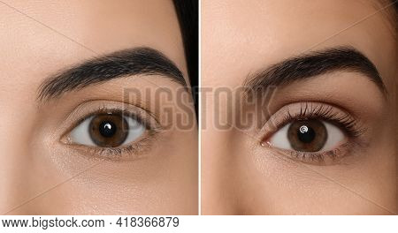 Collage With Photos Of Woman Before And After Eyelash Lamination Procedure, Closeup. Banner Design