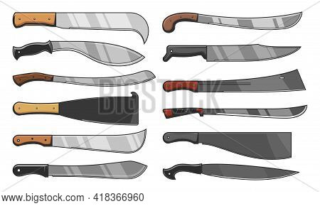 Knife Blades And Cleavers, Combat And Agriculture Cutters, Vector Icons. Blade Knives Tribal And Tra