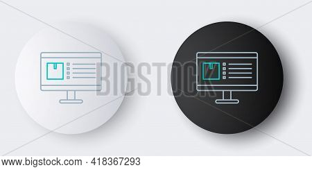Line Computer Monitor With App Delivery Tracking Icon Isolated On Grey Background. Parcel Tracking.