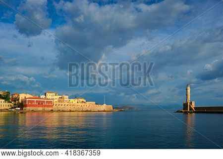 Picturesque old port of Chania, Crete island. Greece