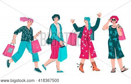 Group Of Cheerful Young Women Enjoying Shopping And Sale Prices. Women Shoppers With Shopping Bags,