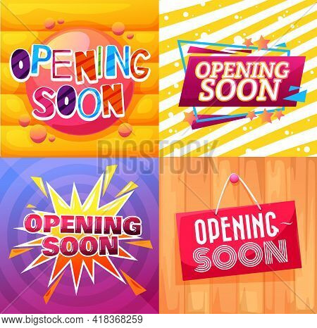 Opening Soon Cartoon Banners And Signs For Shop Or Store, Vector. Grand Opening Soon Banners With Ca
