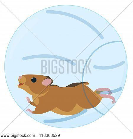 Cute Little Hamster Running In Blue Transparent Ball. Vector Cartoon Illustration
