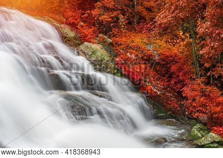 Colourful Of Huay Sai Leung Waterfall Is A Beautiful Waterfalls In The Rain Forest Jungle Thailand