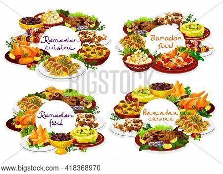 Ramadan Food, Iftar Eid Mubarak Menu Meal Dishes, Vector Islam Religious Fasting. Ramadan Kareem Tra
