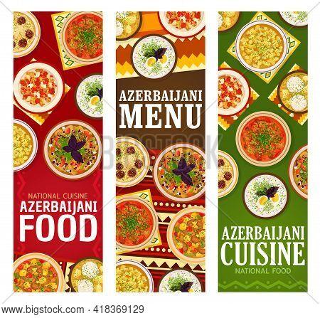 Azerbaijani Food Vector Noodle Meatball Soup Khamrashi, Lamb Vegetable Stew. Grilled Vegetables Sala