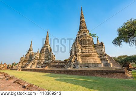 Ancient Temple In Ayutthaya, Thailand. The Temple Is On The Site Of The Old Royal Palace Of Ancient