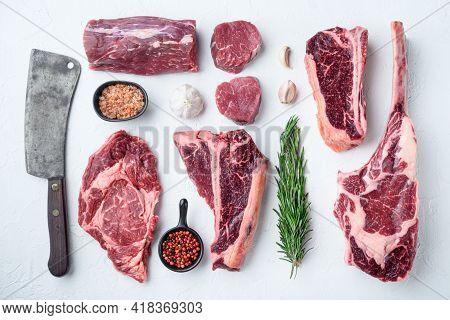 Marbled Beef Meat Steak Cut Set, Tomahawk, T Bone, Club Steak, Rib Eye And Tenderloin Cuts, On White