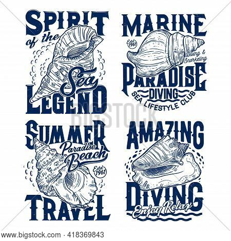 Horse, Fighting Or Queen Conch Seashells T-shirt Print Template. Scuba Diving, Snorkeling And Beach
