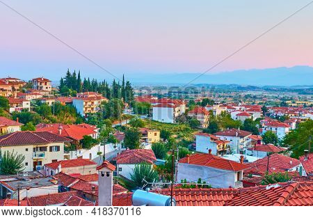 Kalambaka town in Thessaly,  Greece.  Scenic view