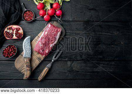 Raw Beef Meat Steak Tenderloin Fillet Mignon Set, On Black Wooden Table Background, Top View Flat La