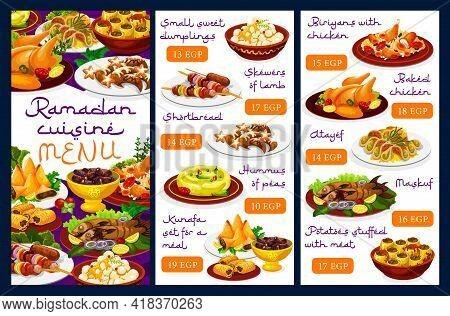 Ramadan Cuisine Menu, Iftar Food And Islam Meals For Eid Mubarak, Vector Religious Fasting Holiday D