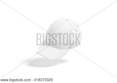 Blank White Baseball Cap Mock Up, No Gravity, 3d Rendering. Empty Fabric Head Cover For Sporty Outfi