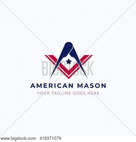 Vector Illustration Of Masonry Tool With American Flag Color Logo Design
