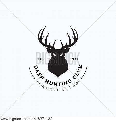 Vector Illustration Of Deer Head Silhouette Good For Vintage Deer Hunting Club Badge, Sticker, And L