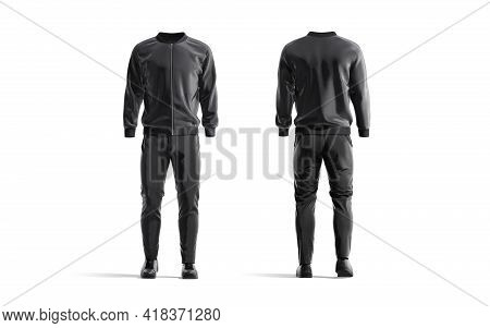 Blank Black Sport Tracksuit With Bomber, Pants And Sneakers Mockup, 3d Rendering. Empty Male Trainin