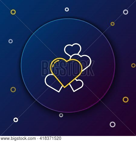 Line Heart Icon Isolated On Blue Background. Romantic Symbol Linked, Join, Passion And Wedding. Vale