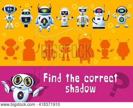 Find Robot Shadow, Game For Kids, Tabletop Or Board Game, Vector Puzzle. Find And Match Shadow Of Ca