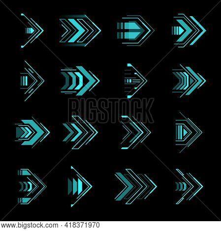 Hud Arrows, Futuristic Navigation Pointers, Sci Fi Ui Interface Vector Elements. Futuristic Neon Glo