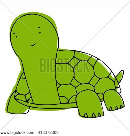 Vector Illustration With Turtle In Doodle Style. A Turtle That You Can Paint.