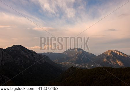 Spectacular Morning View Of Sky And Landscape With Foggy Mountains