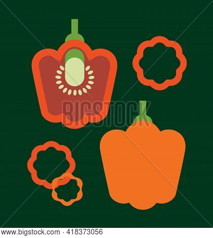 Red Bell Pepper, Paprika, Whole, Half, Slices, Fresh Vegetable, Isolated, Logo, Label Packaging Desi