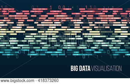 Wide Big Data Visualization. Information Analytics Concept. Sorting Data. Vector Technology Backgrou