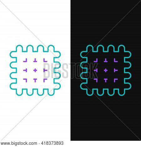 Line Cracker Biscuit Icon Isolated On White And Black Background. Sweet Cookie. Colorful Outline Con