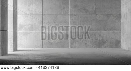 Abstract Empty, Modern Concrete Room With Indirect Lighting Thru Pillars On The Left, Plated Back Wa