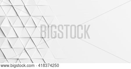 Random Rotated White Triangles Background Wallpaper Banner With Copy Space, 3d Illustration