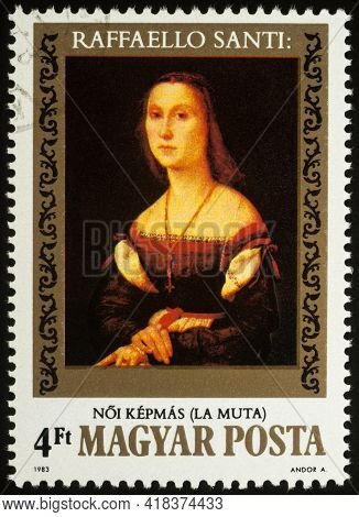 Moscow, Russia - April 25, 2021: Stamp Printed In Hungary, Shows Female Portrait By Raphael, La Muta