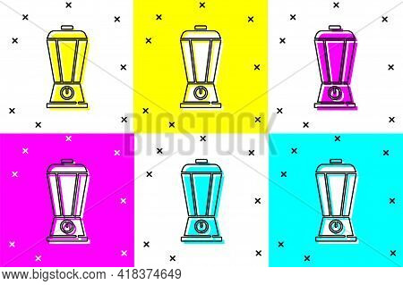 Set Blender Icon Isolated On Color Background. Kitchen Electric Stationary Blender With Bowl. Cookin