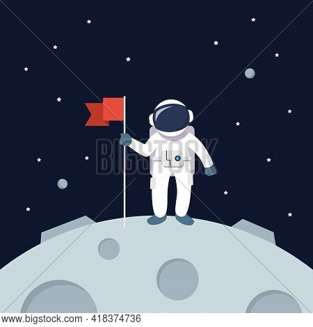 Astronaut Landing On Moon Holding Flag. Star And Planets On Galaxy Background. Flat Style Vector Ill