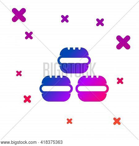 Color Macaron Cookie Icon Isolated On White Background. Macaroon Sweet Bakery. Gradient Random Dynam