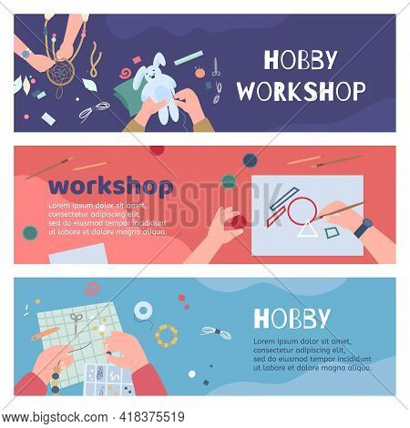 Vector Colorful Banners Craft Workshop For Making Handmade Creative Craftworks