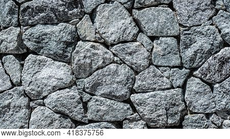 Granite Stone Wall, Pattern Of Natural Gray Granite Stone Wall For Background.
